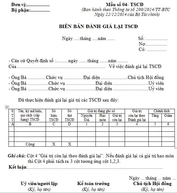 Mẫu biên bản đánh giá lại TSCĐ theo thông tư 200