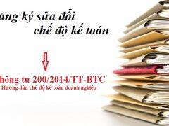 Đăng ký sửa đổi chế độ kế toán theo thông tư 200/2014/TT-BTC