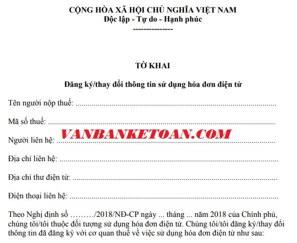 Đăng ký thông tin sử dụng hóa đơn điện tử