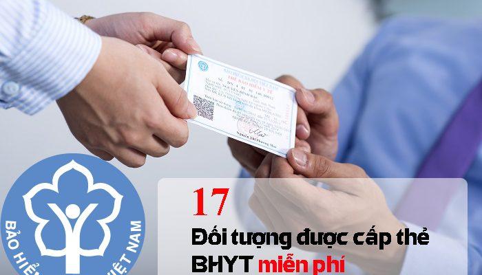 Đối tượng được cấp thẻ BHYT miễn phí