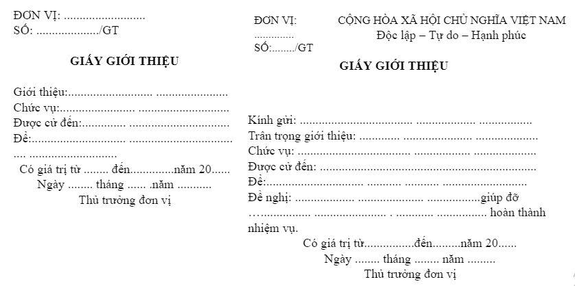 Mẫu giấy giới thiệu 2 liên